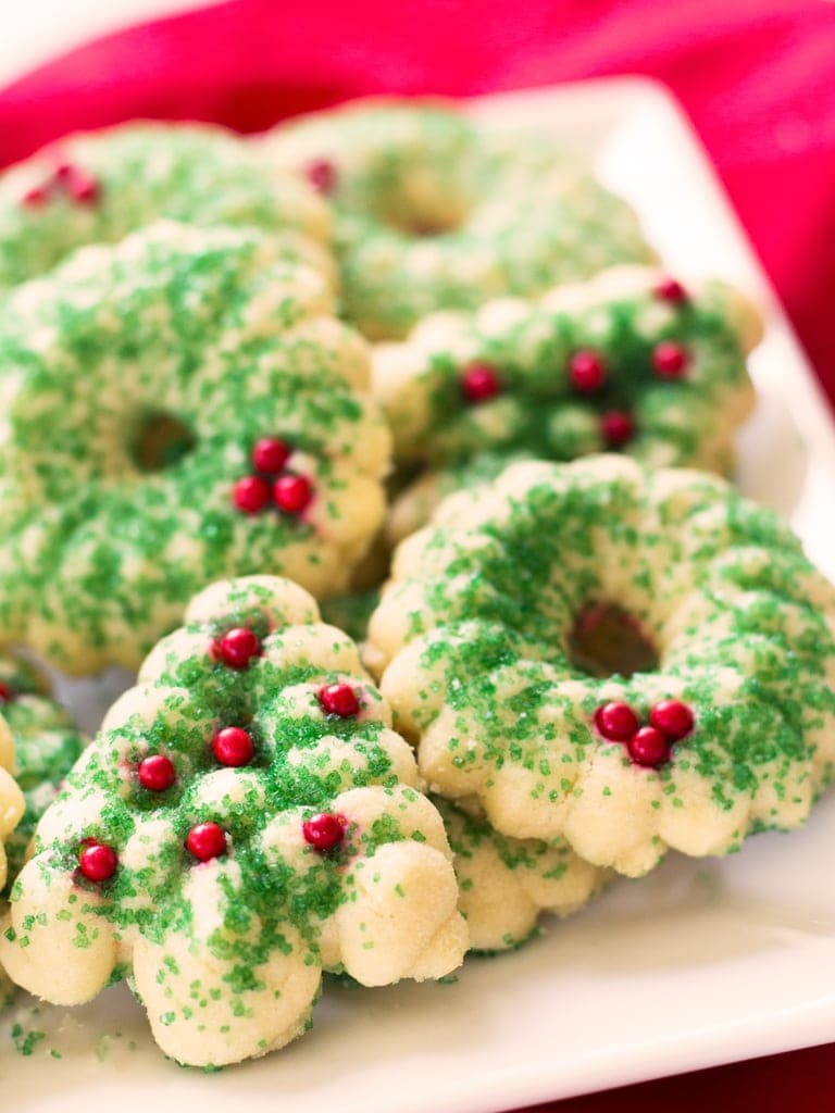 butter spritz cookies green and red sprinkles