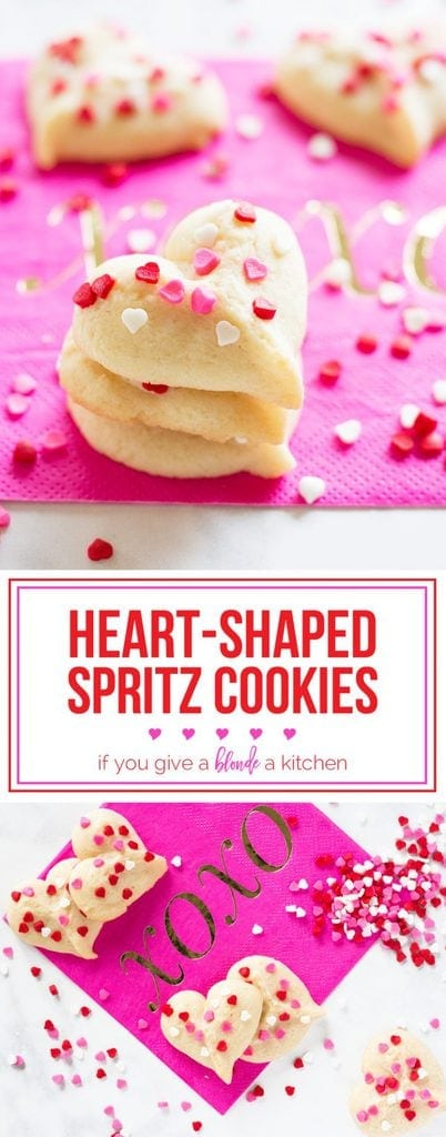 Heart-shaped butter spritz cookies are a yummy Vatenine's Day treat!   www.ifyougiveablondeakitchen.com