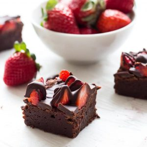Chocolate covered strawberry brownies are a delicious recipe to try for Valentine's Day!   www.ifyougiveablondeakitchen.com