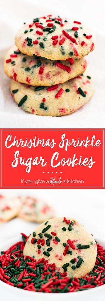 Christmas sprinkle sugar cookies are festive for the holidays! They are so easy to make and perfect to try with kids! | www.ifyougiveablondeakitchen.com
