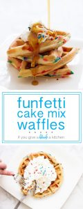 Funfetti cake mix waffles are the best birthday breakfast! | www.ifyougiveablondeakitchen.com