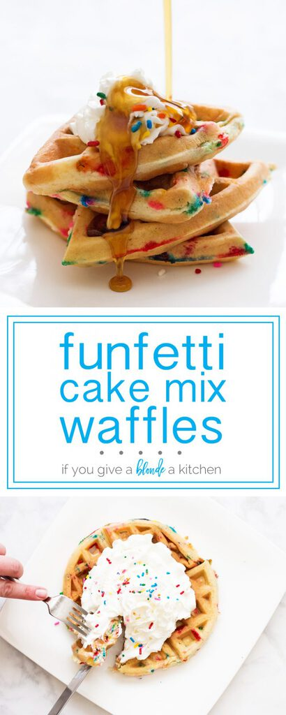 Funfetti cake mix waffles are the best birthday breakfast! | www.ifyougiveablondeakitchen.com