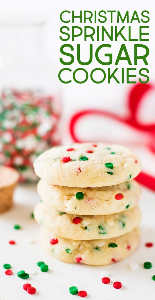 Christmas sprinkle sugar cookies are an easy holiday recipe. The red and green sprinkle cookies are chewy and delicious! | www.ifyougiveablondeakitchen.com