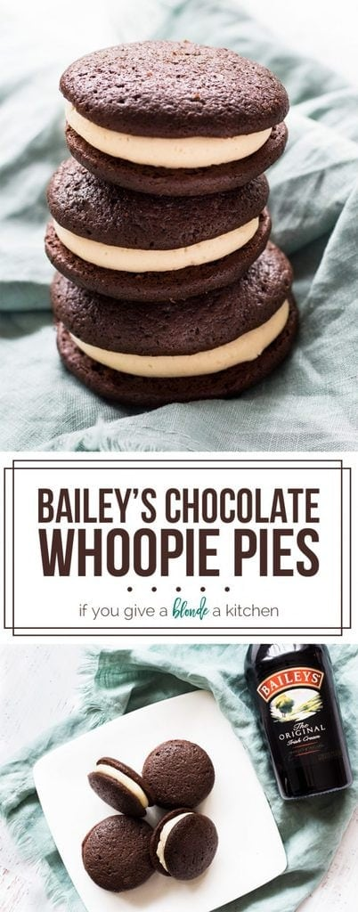 Bailey's Chocolate Whoopie Pies for St. Patrick's Day | www.ifyougiveablondeakitchen.com