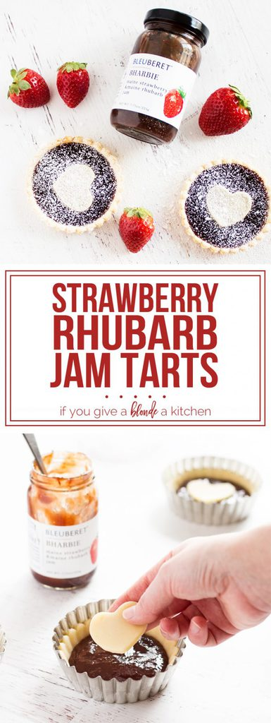 Strawberry rhubarb jam tarts for Valentine's Day @bleuberet #sponsored | www.ifyougiveablondeakitchen.com
