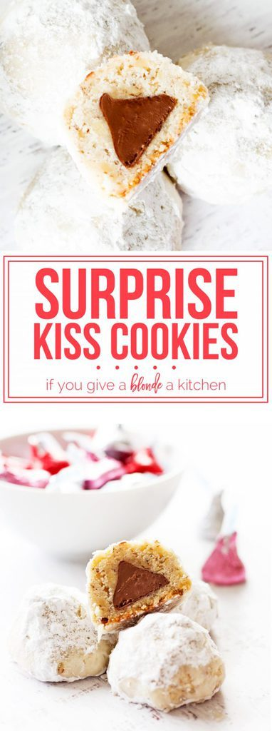 Surprise kiss cookies have a secret Hershey's Kiss hidden inside! Perfect for Valentine's Day or Christmas cookie swaps. | www.ifyougiveablondeakitchen.com