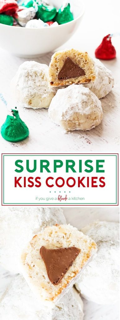 Surprise kiss cookies have a hidden chocolate kiss inside. Each cookie is covered in confectioners' sugar and is a perfect addition to the Christmas cookie swap! #christmascookies | www.ifyougiveablondeakitchen.com