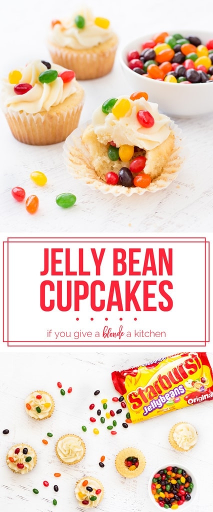 Jelly bean cupcakes are simple vanilla cupcakes decorated with jelly beans inside and out! Perfect for Easter. #sweetereaster #ad @walmart | www.ifyougiveablondeakitchen.com
