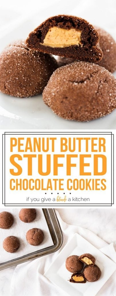 Stuffed peanut butter chocolate cookies have a surprise inside and are irresistible! | www.ifyougiveablondeakitchen.com
