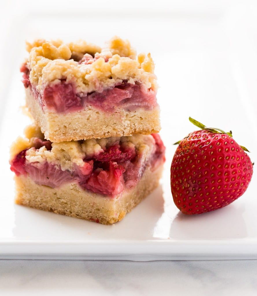 Sweet and buttery, strawberry crumb bars are a delicious summer dessert. | www.ifyougiveablondeakitchen.com
