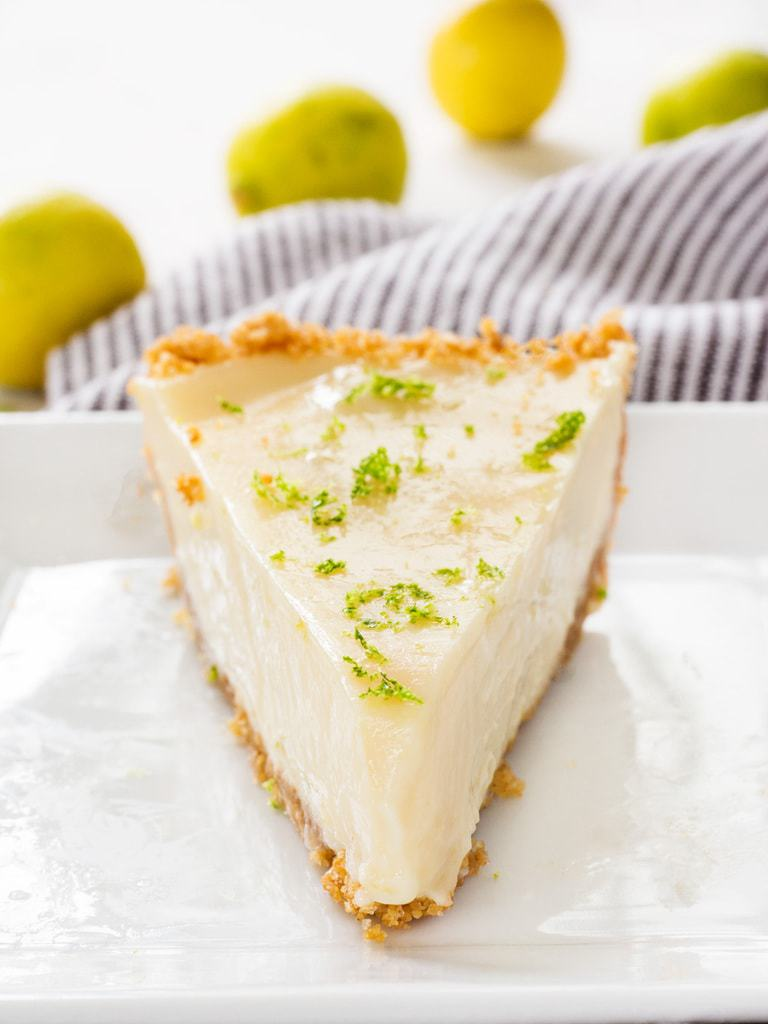 This easy key lime pie recipe is creamy and zesty. The graham cracker crust is perfect too! | www.ifyougiveablondeakitchen.com