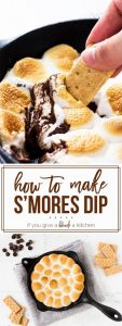 Learn how to make s'mores dip in a skillet! It is so easy and requires only four ingredients. This summer dessert will be ready in no time! | www.ifyougiveablondeakitchen.com