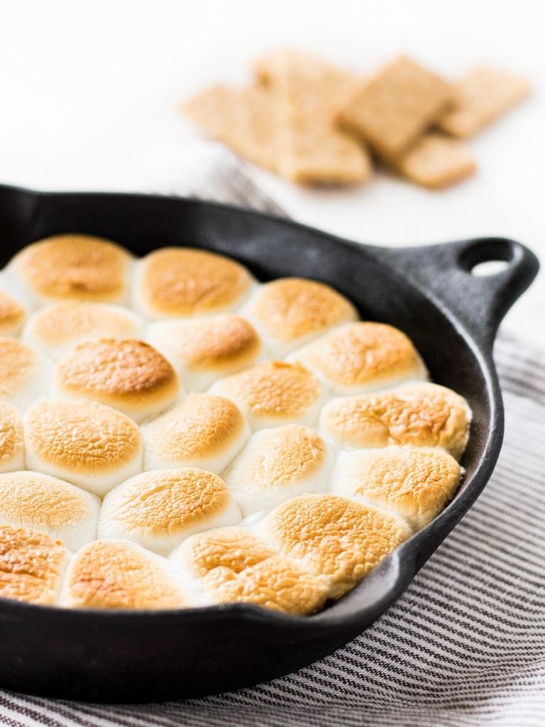 How to make smores dip in a skillet. | www.ifyougiveablondeakitchen.com