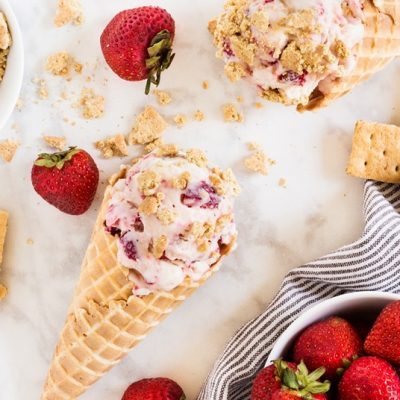 Strawberry Cheesecake No Churn Ice Cream