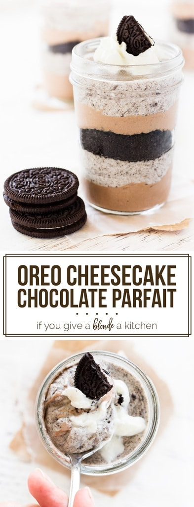 Chocolate cheesecake oreo parfait is served in mason jars for single serving dessert! | www.ifyougiveablondeakitchen.com