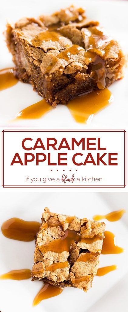 Caramel apple cake is an easy and delicious dessert for fall. The sheet cake is loaded with apples and cinnamon. | www.ifyougiveablondeakitchen.com