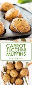 Carrot zucchini muffins are so yummy sprinkled with cinnamon sugar! This recipe is perfect for extra zucchini in the summer.   www.ifyougiveablondeakitchen.com