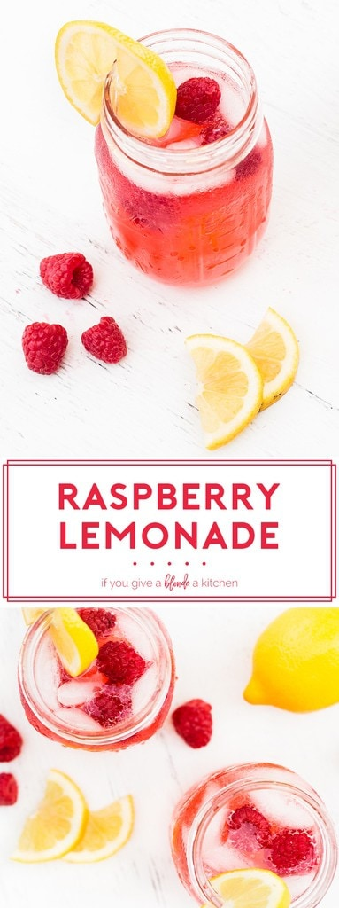 Try this raspberry lemonade recipe this summer! It is light, refreshing and made with ripe raspberries—a colorful drink to enjoy in warm weather. | www.ifyougiveablondeakitchen.com