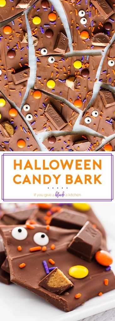 Halloween candy bark has a spooky touch with candy eyes! The no-bake dessert recipe is easy to follow and great to make with kids. | www.ifyougiveablondeakitchen.com