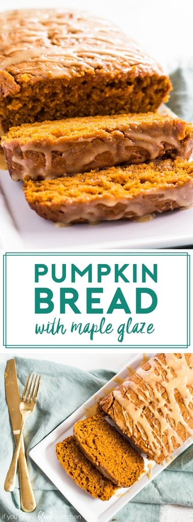 Pumpkin bread is drizzled with maple glaze. Each slice is moist and dense, packed with fall spices. This easy recipe makes the best pumpkin bread! | www.ifyougiveablondeakitchen.com