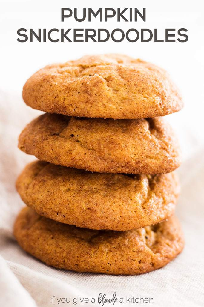 Pumpkin snickerdoodle cookies are the perfect fall cookie. The recipe is easy to follow and makes tons of pumpkin snickerdoodles! | www.ifyougiveablondeakitchen.com
