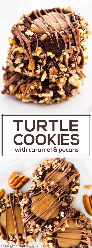Turtle cookies are the best Christmas cookies. The recipe uses a chocolate cookie dough, crushed pecans and caramel making each bite taste like the candy! | www.ifyougiveablondeakitchen.com