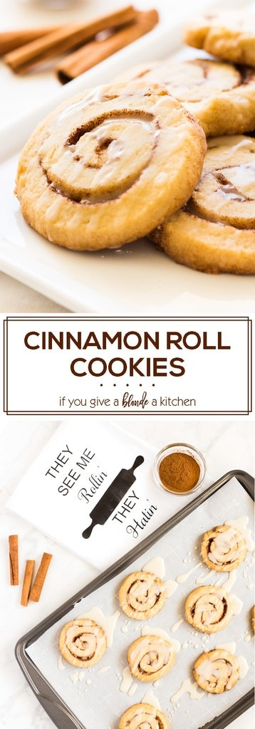Cinnamon roll cookies are perfectly sweet with the icing and cinnamon sugar. Use @Crisco All-Vegetable Shortening to make the cookies perfectly thick and light-textured! #ad #BakeItBetter