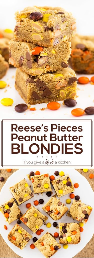 Reese's pieces peanut butter blondies are packed with Reese's candy, chocolate chips and peanut butter flavor. The perfect dessert recipe to try for fall or Halloween! | www.ifyougiveablondeakitchen.com