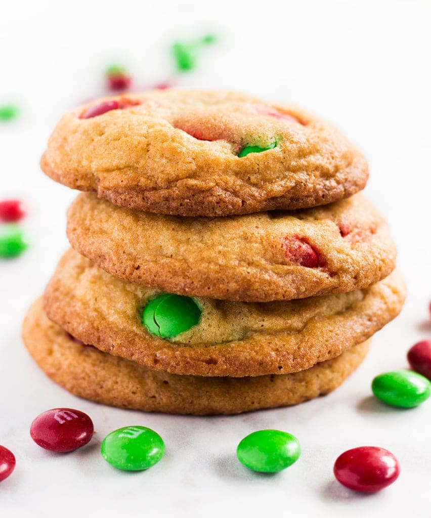 Christmas M&M cookies are a simple and delicious dessert for the holidays. Use red and green M&M's for a Christmas touch! | www.ifyougiveablondeakitchen.com