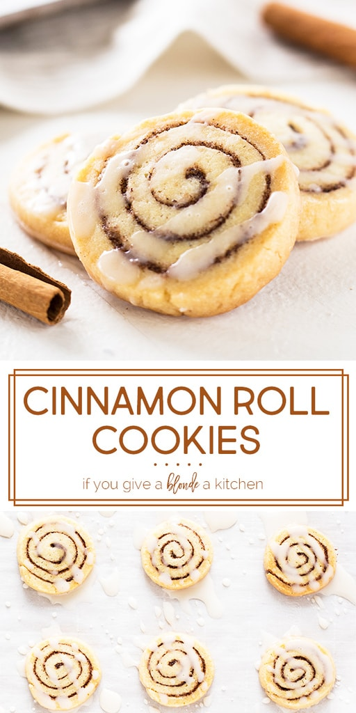 Cinnamon roll cookies are perfect for the holidays! Th slice and bake recipe makes cookies that taste just like the breakfast pastry with a drizzle of icing. | www.ifyougiveablondeakitchen.com
