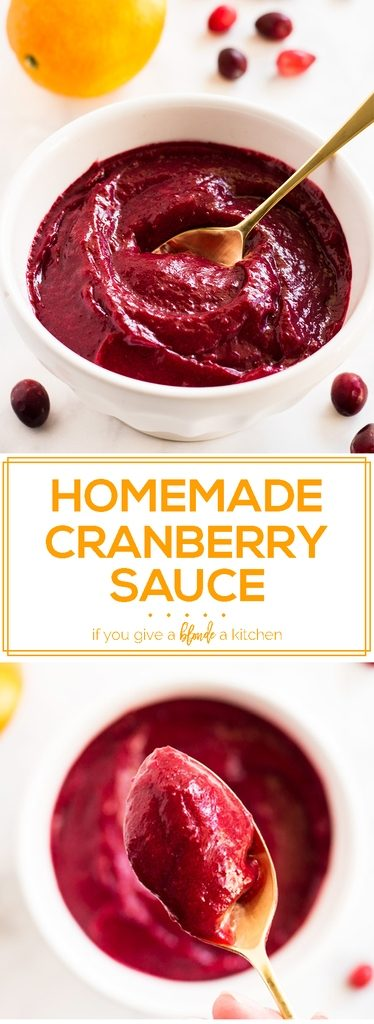 Try this homemade cranberry sauce recipe for Thanksgiving. It is naturally sweetened and blended smooth for a healthy and delicious holiday dish! | www.ifyougiveablondeakitchen.com