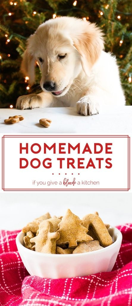Homemade peanut butter dog treats are made with peanut butter, pumpkin puree, whole wheat flour and eggs. This is a great gift for your puppy at Christmas time or for their birthday. The recipe is easy and makes plenty of biscuits! | www.ifyougiveablondeakitchen.com