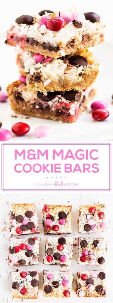 M&M magic cookie bars recipe is a must try for Valentine's Day! Use pink and red M&M's for a colorful dessert. The toasted coconut, graham cracker crust and melted chocolate is simply delicious! | www.ifyougiveablondeakitchen.com
