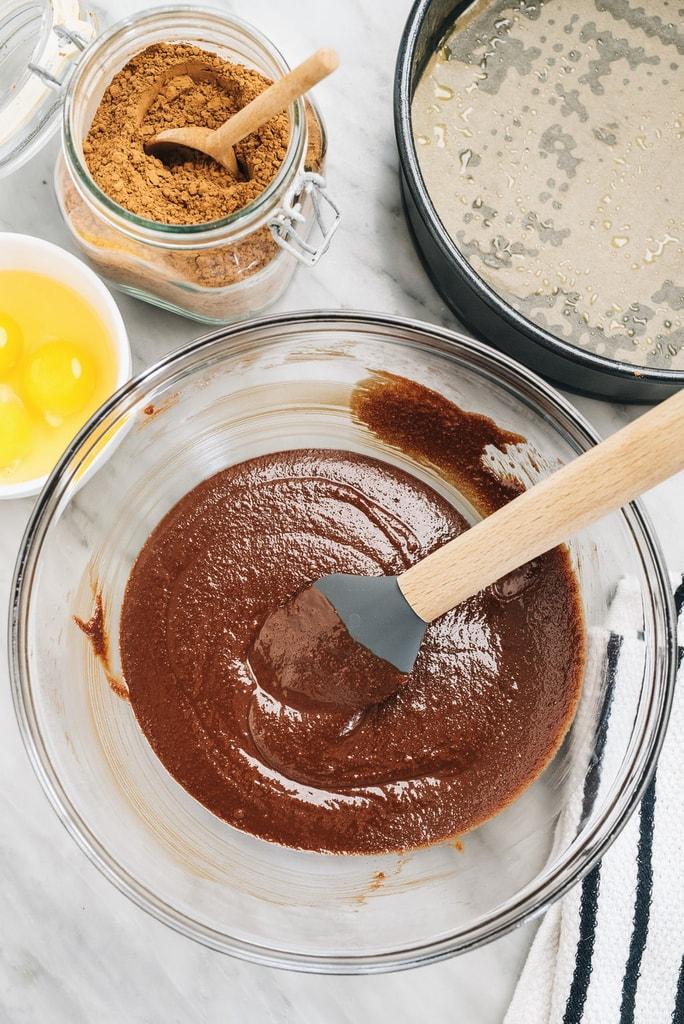 Bowl of flourless chocolate cake ingredients