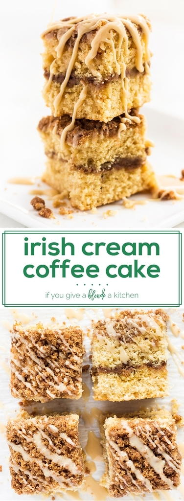 Irish cream coffee cake is the best breakfast treat for St. Patrick's day. The cake is spiked with Bailey's Irish cream. The recipe also calls for sour cream, which makes a moist and tender crumb. To top it all off, the brown sugar crumble has a drizzle of Irish cream icing! | www.ifyougiveablondeakitchen.com