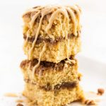 Irish cream coffee cake slices stacked with glaze