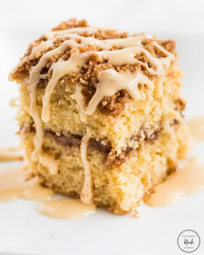 Irish cream coffee cake close up with filling and glaze