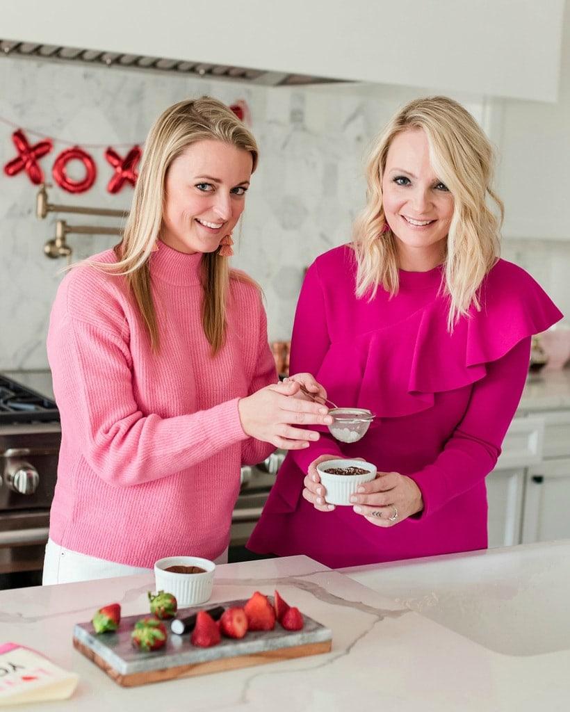 Mini flourless chocolate cake blonde pink valentine's day baking