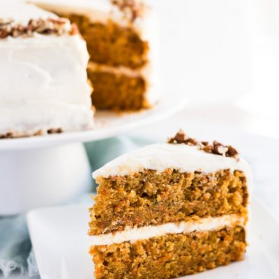 Homemade carrot cake recipe for layer cake with cream cheese frosting