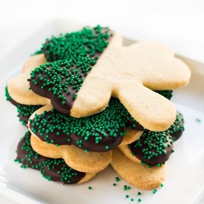 shamrock st patrick's day cookies chocolate covered green nonpareils