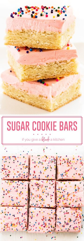 Sugar cookie bars recipe makes dessert bars topped with pink buttercream frosting and rainbow sprinkles. Make this easy treat for birthdays and other celebrations!