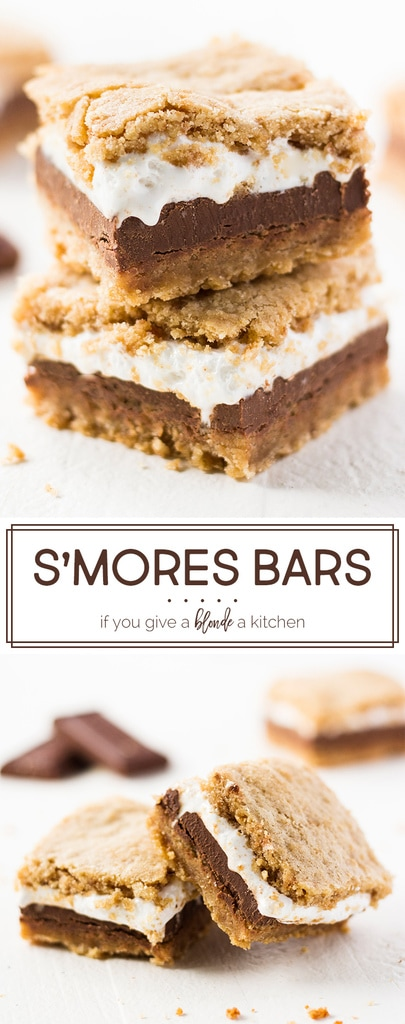 This s'mores bars recipe is perfect for summer! The graham cracker cookie dough hugs marshmallow fluff and thick chocolate bars. Each bite is oozing with flavor—it's better than real s'mores! | www.ifyougiveablondeakitchen.com