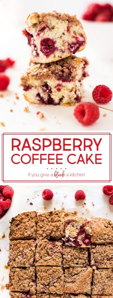 Raspberry coffee cake has pockets of tart raspberries and a cinnamon streusel topping. It is a delightful breakfast food to enjoy this summer! | www.ifyougiveablondeakitchen.com