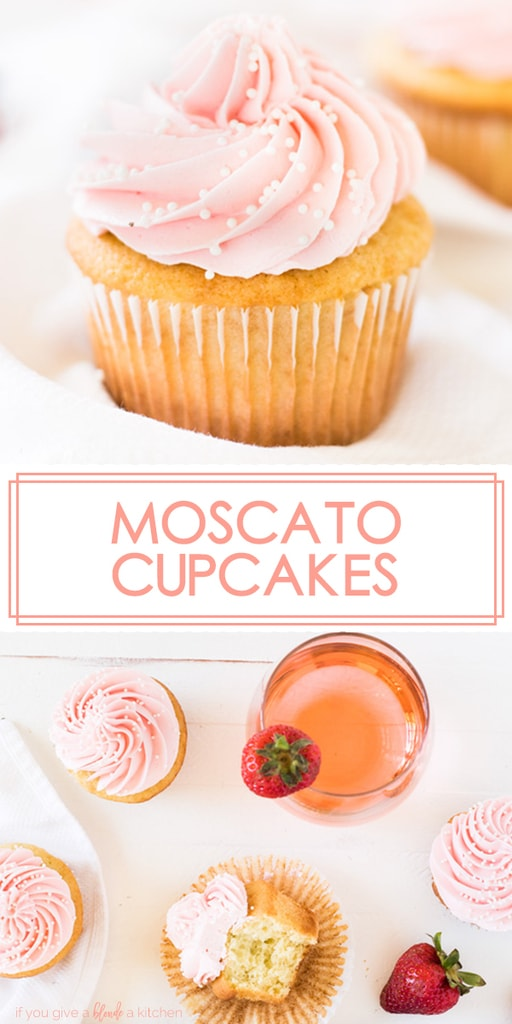 Moscato cupcakes are vanilla cupcakes with buttercream frosting spiked with strawberry wine. They are fluffy, moist cupcakes with a hint of strawberry flavor. Make them for bachelorette parties, girls' night out, birthdays or the holidays! | www.ifyougiveablondeakitchen.com