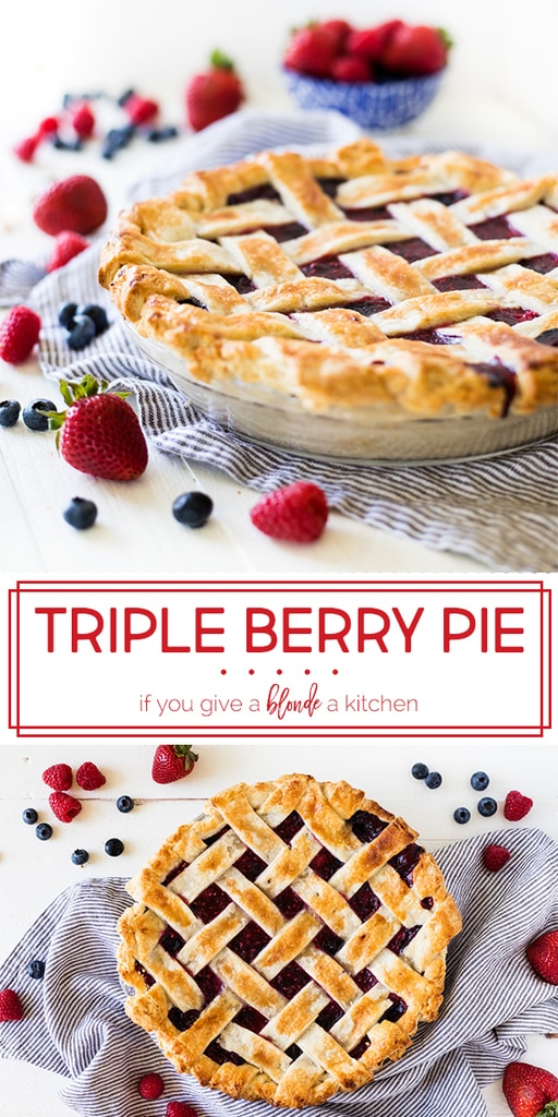 Triple berry pie is made with fresh summer berries and a flaky homemade crust. The filling uses strawberries, blueberries and raspberries for flavorful dessert! Perfect for barbecues, picnics and the Fourth of July! | www.ifyougiveablondeakitchen.com