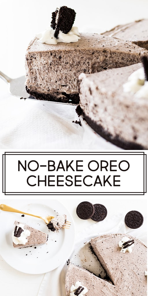 No bake Oreo cheesecake recipe is easy to make from scratch and a perfect dessert for hot summer days. The thick and creamy cheesecake filling is flavored with cookie crumbs and sits on an Oreo crust. | www.ifyougiveablondeakitchen.com