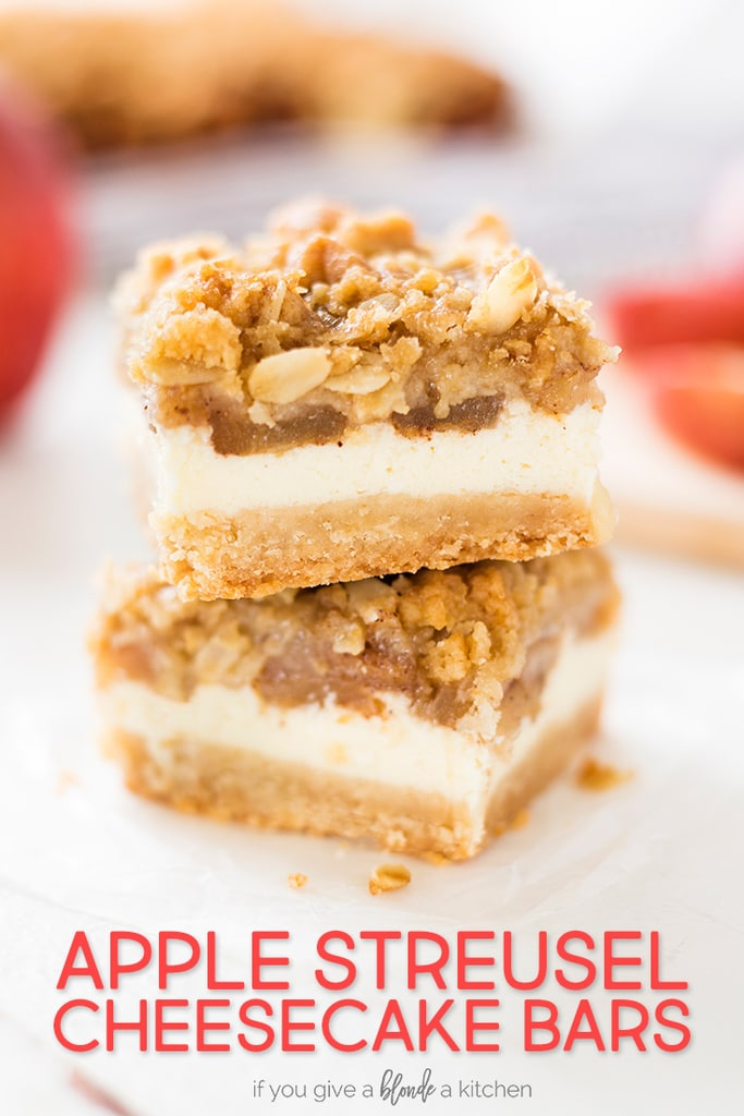 Apple cheesecake bars are layered with shortbread crust, cheesecake filling, sliced apples and cinnamon streusel topping. This dessert recipe is perfect for fall harvest! | www.ifyougiveablondeakitchen.com