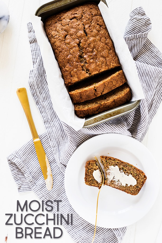 This easy moist zucchini bread recipe is the best ever! The summer squash adds moisture, while the cinnamon makes each bite flavorful. Try the quick bread recipe at www.ifyougiveablondeakitchen.com
