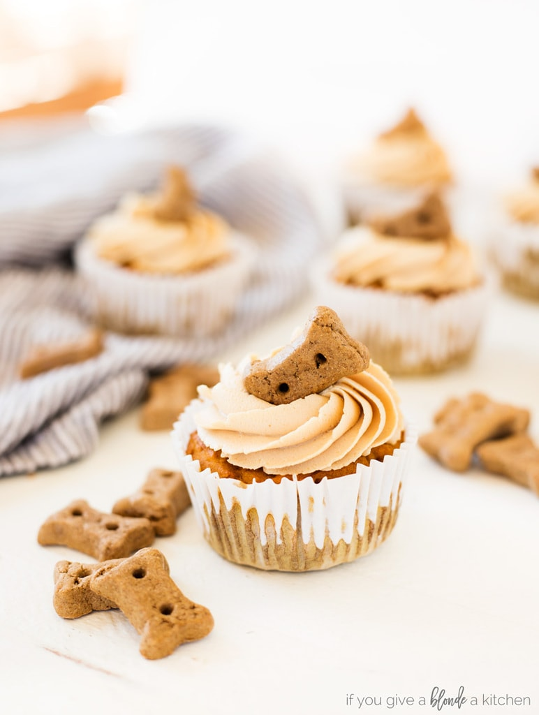 Pumpkin Peanut Butter Pupcakes Dog Cupcakes With Biscuits And Frosting