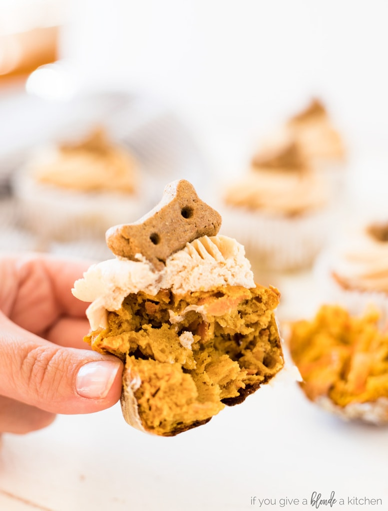 Pumpkin Peanut Butter Pupcakes Dog Cupcakes inside orange carrots and peanut butter frosting